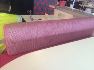 An example of commercial upholstery cleaning by Bonne Fresh Clean - before picture